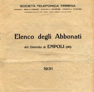 Elenco telefonico di Empoli 1931