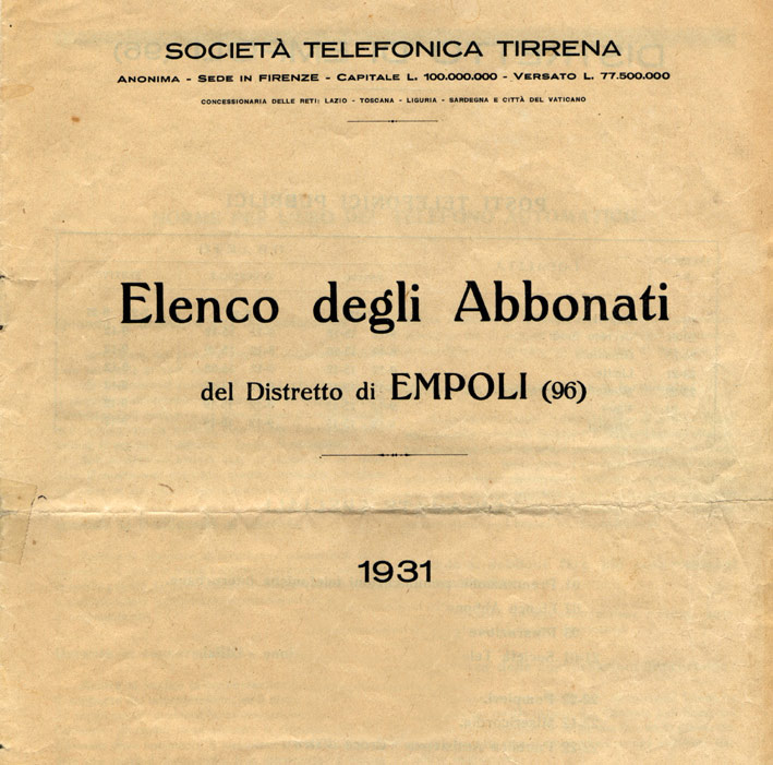 L\u0027elenco telefonico degli abbonati di Empoli nel 1931 \u2013 Empoli e Storia