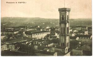 Veduta di Empoli con in primo piano il campanile di Santo Stefano degli Agostiniani. (Coll. Maestrelli, 20106)