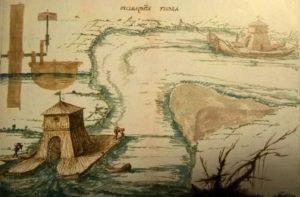 Esempio di mulino galleggiante, da Cosimo Noferi, La travagliata architettura (Sec. XVII)